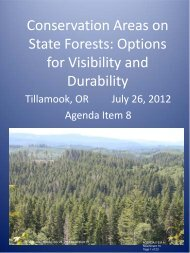 Conservation Areas on State Forests: Options for ... - State of Oregon