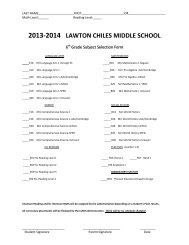 Grade 6 Subject Selection Form - Lawton Chiles Middle School
