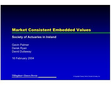 Market Consistent Embedded Values - Society of Actuaries in Ireland