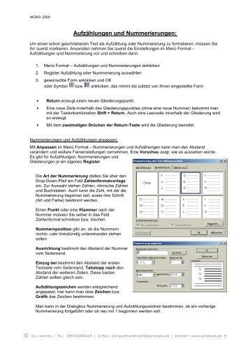Aufzählungen und Nummerierungen: - Computerunterricht Janotopia