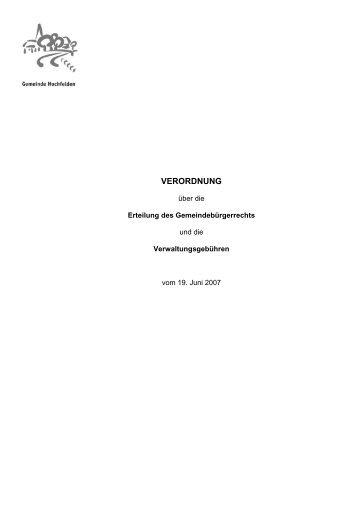 VERORDNUNG - Gemeinde Hochfelden
