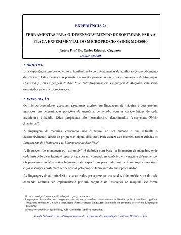 EXPERIÊNCIA 2: FERRAMENTAS PARA O ... - PCS - USP