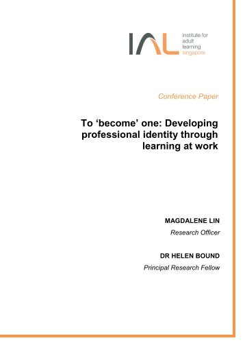 'become' one: Developing professional identity through learning at ...