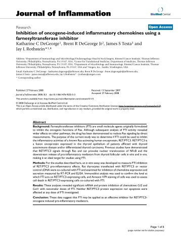 Inhibition of oncogene-induced inflammatory chemokines using a ...