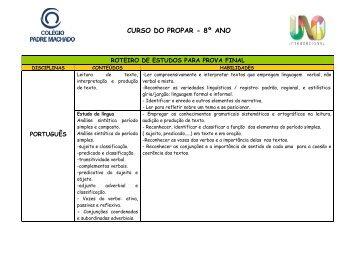 CURSO DO PROPAR - 8º ANO - Faculdade Padre Machado