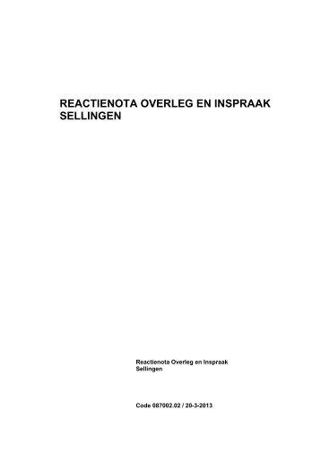 reactienota overleg en inspraak sellingen - Gemeente Vlagtwedde