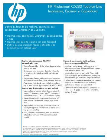 HP Photosmart C5280 Todo-en-Uno Impresora, Escáner y Copiadora