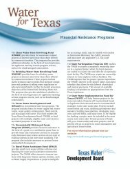 Financial Assistance Programs - Texas Water Development Board