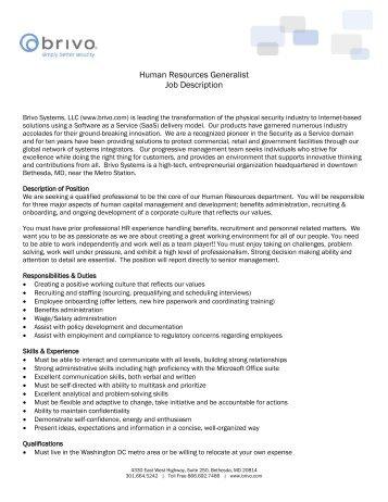 Human Resources Generalist Job Description   Brivo Systems