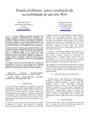 Estudo preliminar para a avaliação da acessibilidade de um sítio Web