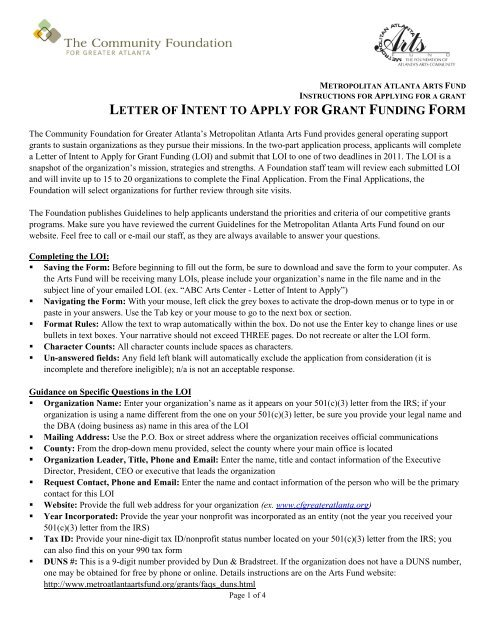 letter-of-intent-to-apply-for-grant-funding-form-the-community- Grant Application Form Letter on