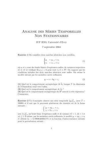 Analyse des Séries Temporelles Non Stationnaires - Dynare