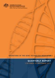 Quarterly Report December 2011 - Office of the Gene Technology ...