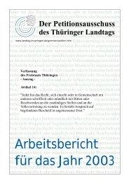 Arbeitsbericht für das Jahr 2003 - Thüringer Landtag