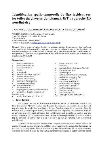 Identification spatio-temporelle du flux incident sur les tuiles du ...