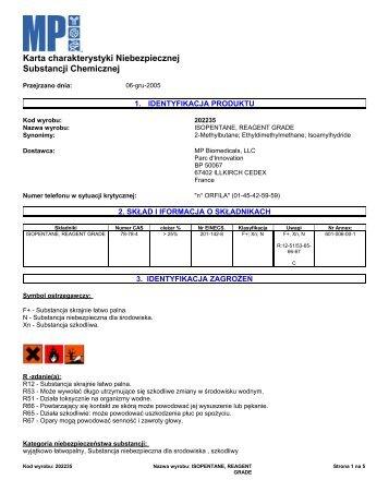 Karta charakterystyki Niebezpiecznej Substancji ... - MP Biomedicals