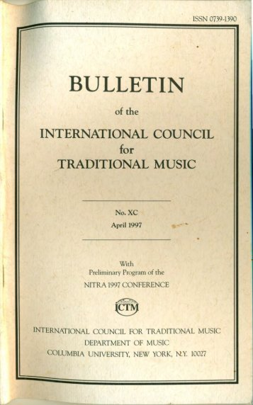 Apr 1997 - International Council for Traditional Music