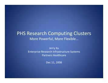 PHS Research Computing Clusters - Research Information Services ...