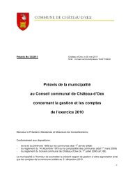 Préavis 13-2011 - Comptes 2010 - Château-d'Oex