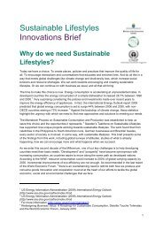 Sustainable Lifestyles Report: Innovations Brief - DTIE