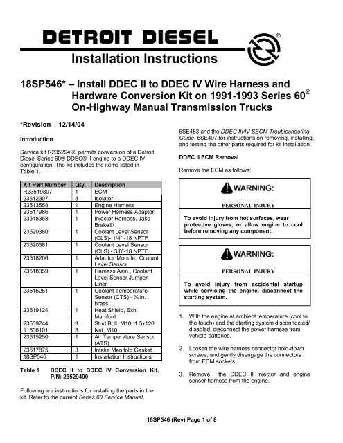 ddec ii wiring diagram 18sp546             install ddec ii to ddec iv wire harness and ddcsn  install ddec ii to ddec iv wire harness