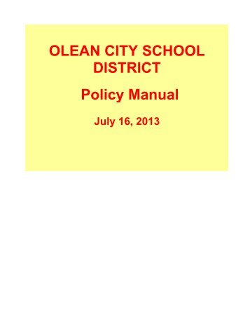OLEAN CITY SCHOOL DISTRICT Policy Manual