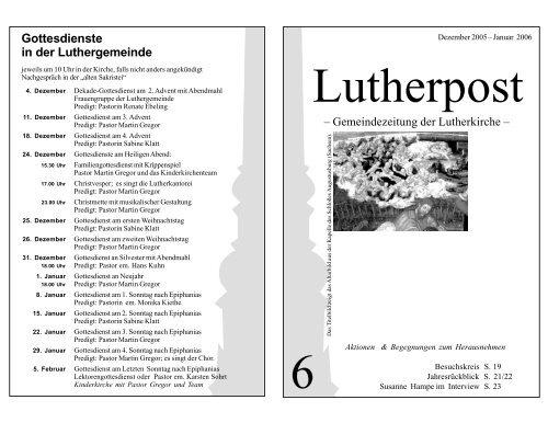 Gottesdienste in der Luthergemeinde - Lutherkirche Kiel