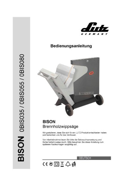 Bedienungsanleitung Brennholzwrppsäge - LUTZ MASCHINEN