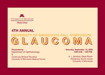 Glaucoma Brochure - University of Minnesota Continuing Medical ...