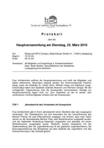 Protokoll Jahreshauptversammlung 2010 - Oststadtverein ...