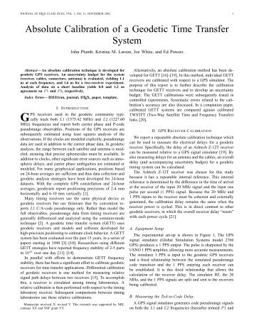 Absolute Calibration of a Geodetic Time Transfer System