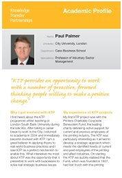 Paul Palmer - Knowledge Transfer Partnerships