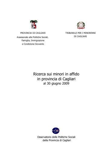 Ricerca sui minori in affido 2009 - Sociale - Provincia di Cagliari