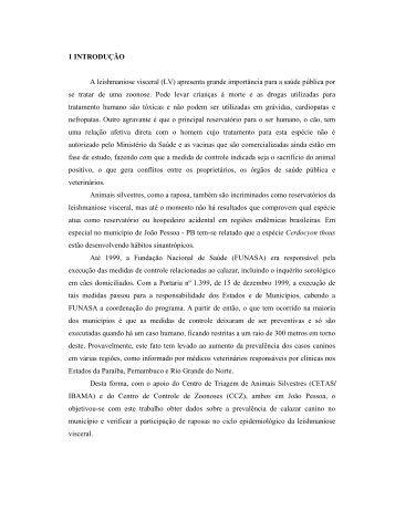 1 INTRODUÇÃO A leishmaniose visceral (LV ... - Cstr.ufcg.edu.br