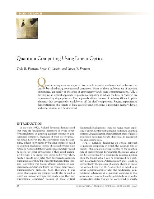 Quantum Computing Using Linear Optics - The Johns Hopkins