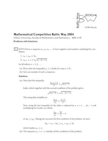 Mathematical Competition Baltic Way 2004 - Abelkonkurransen