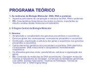 PROGRAMA TEÓRICO - Biologia Molecular e Genética