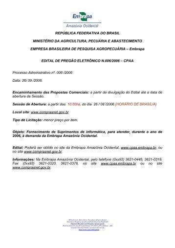 república federativa do brasil ministério da agricultura ... - Embrapa