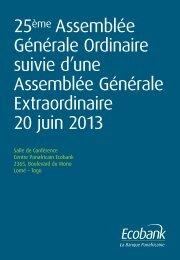 Assemblée Générale Annuelle 2013 - Ecobank