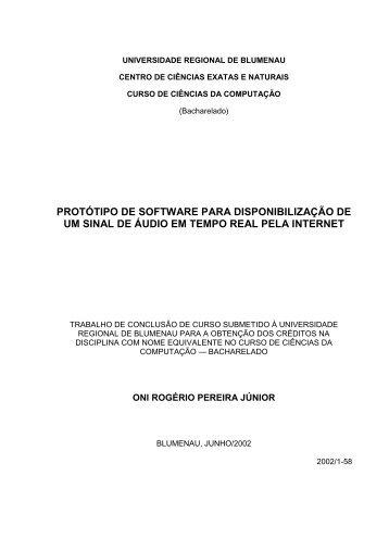 PROTÓTIPO DE SOFTWARE PARA ... - Projeto Pesquisa