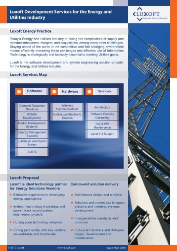 Luxoft Development Services for the Energy and Utilities Industry