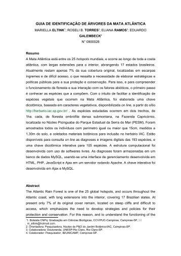 GUIA DE IDENTIFICAÇÃO DE ÁRVORES DA MATA ATLÂNTICA - IAC