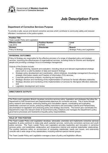 Job Description Form General Description Work Experience