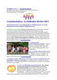 Gemeinschaften in Südbaden Herbst 2013 - Wohnprojekte Portal