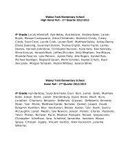 Walnut Trails Elementary School High Honor Roll – 2nd Quarter ...