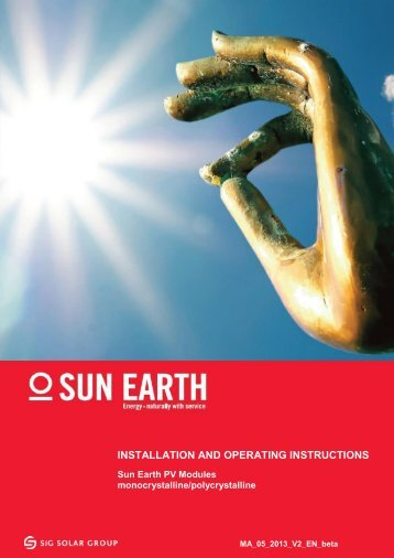 INSTALLATION AND OPERATING INSTRUCTIONS - SiG Solar