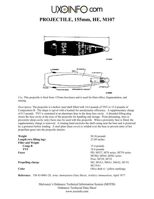 PROJECTILE, 155mm, HE, M107