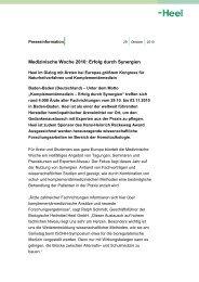 Medizinische Woche 2010: Erfolg durch Synergien - Heel