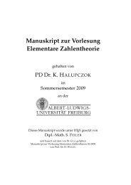 Manuskript zur Vorlesung Elementare Zahlentheorie