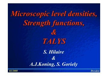 Microscopic level densities, Strength functions, & TALYS - efnudat